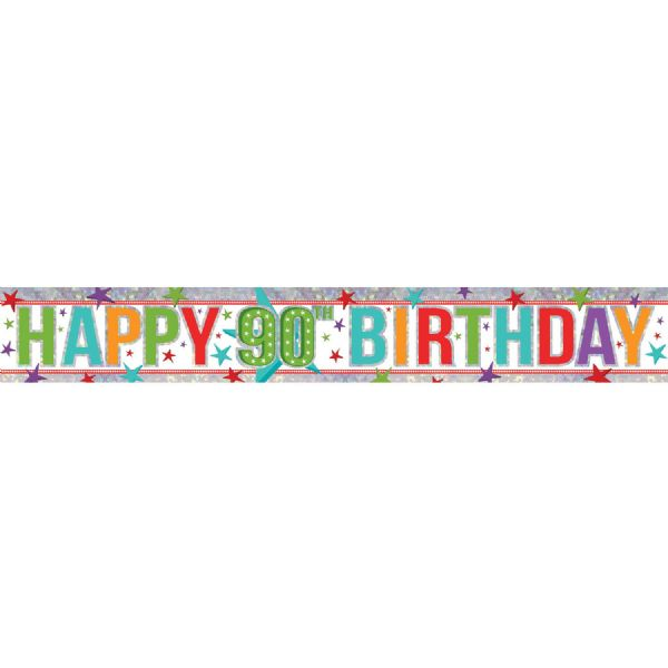 Holographic Multi Colour Happy 90th Birthday Foil Banner
